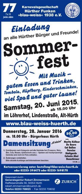 Anzeige Sommerfest 2015